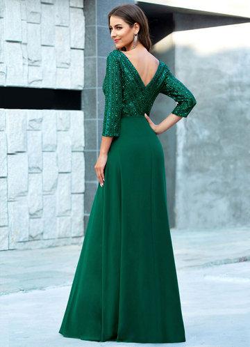 back_EVER-PRETTY Contrast Sequin Chiffon Dress