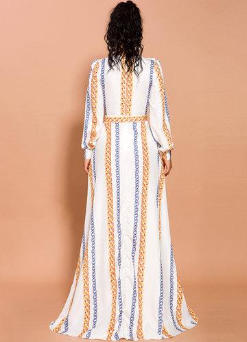 back_Missord Chain Print Split Thigh Plunge Neck Ruffle Dress