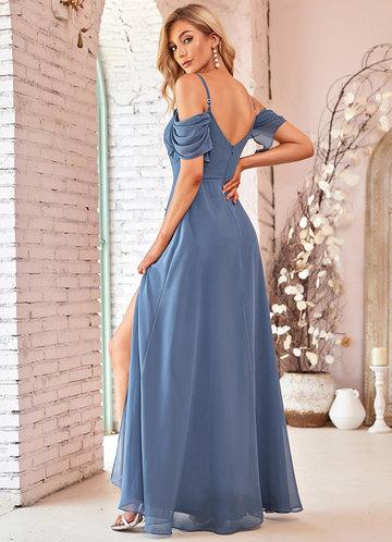 back_EVER-PRETTY Cold Shoulder Ruched Split Thigh Dress