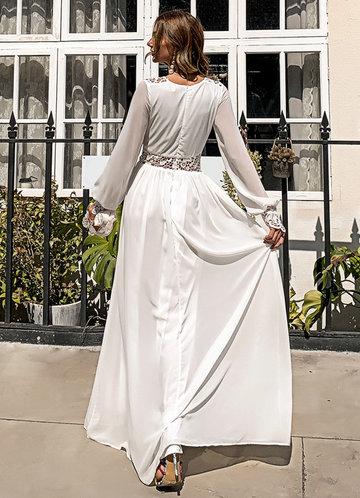 back_Missord Plunging Neck Guipure Lace Insert Chiffon Prom Dress