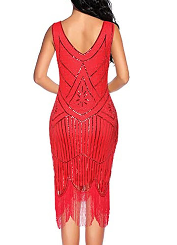back_Blush Mark Vintage 1920s Fringed Gatsby Sequin Beaded Tassels Hem Flapper Dress