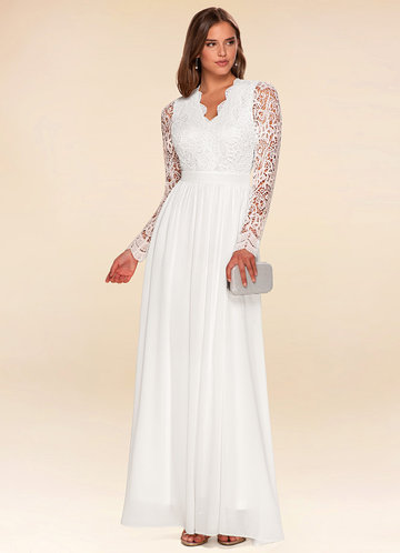 Marvelous White Long Sleeve Lace Maxi Dress
