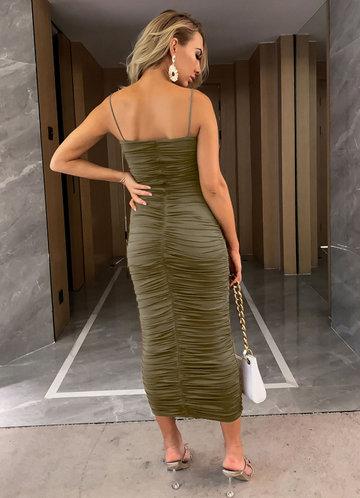 back_Joyfunear Solid Ruched Dress