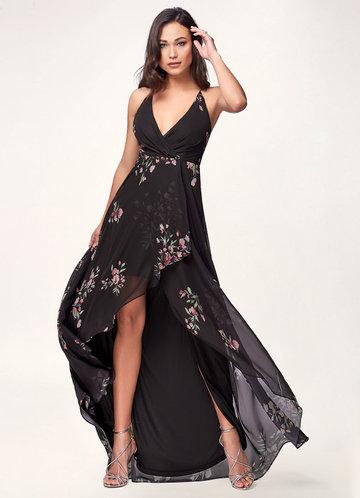 First Snow Black Floral Print Maxi Dress