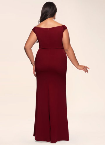 back_Blush Mark Plus Size Cherish Burgundy Stretch Crepe Maxi Dress