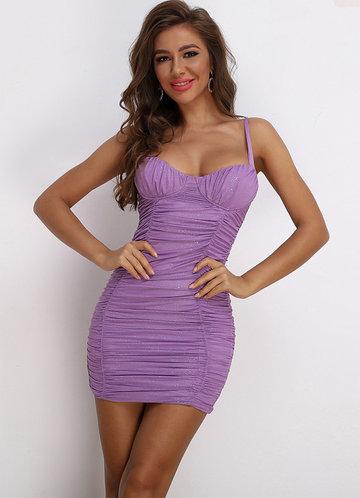 front_Joyfunear Ruched Glitter Bustier Cami Dress