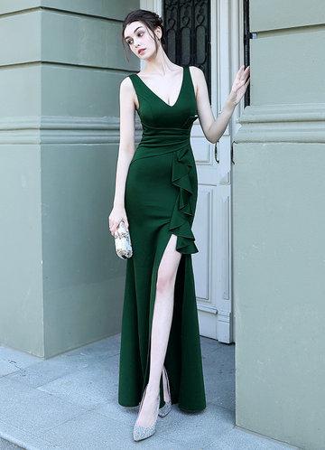front_Kalinnu Ruffle Trim Thigh Split Maxi Dress