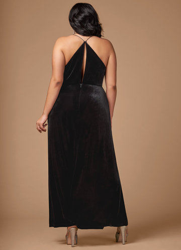 back_Blush Mark Plus Size On Fleek Velvet Maxi Dress