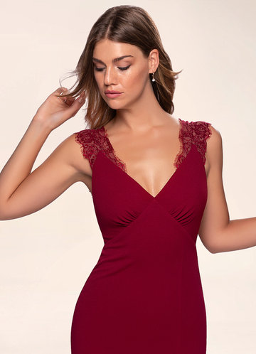Elegant Love Burgundy Stretch Crepe Maxi Dress