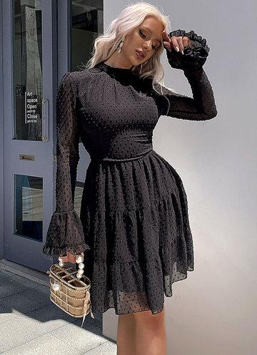 front_Missord Mock Neck Swiss Dot Chiffon Dress