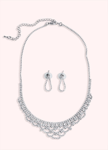 front_Exquisite Drop Earrings And Necklace Jewelry Set