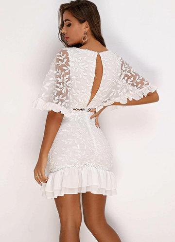 back_Joyfunear Ruffle Hem Batwing Sleeve Embroidery Mesh Dress