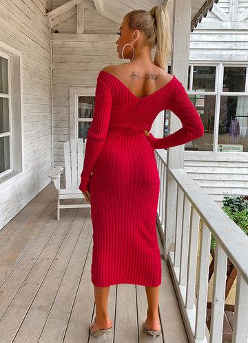 back_Joyfunear Double V Neckline Rib Knit Dress
