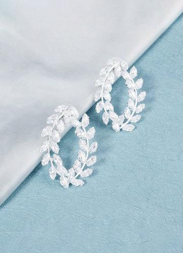 front_Simple Leaf Silver Hoop Earrings