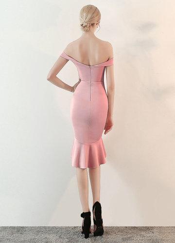 back_Kalinnu Off Shoulder Ruffles Hem Midi Dress