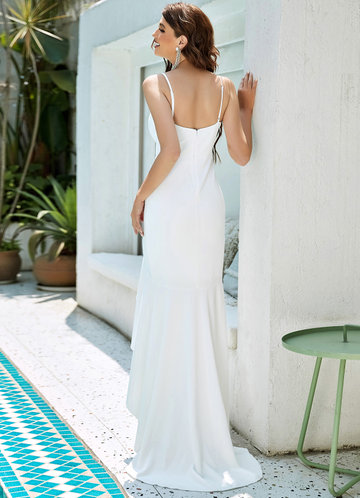 back_EVER-PRETTY Zip Back Ruffle Trim Asymmetrical Hem Cami Dress