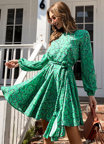 front_Missord Ditsy Floral Print Lantern Sleeve Belted Dress
