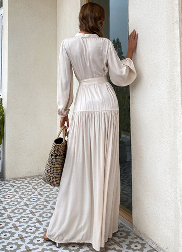 back_Missord Button Front Lantern Sleeve Belted Maxi Dress