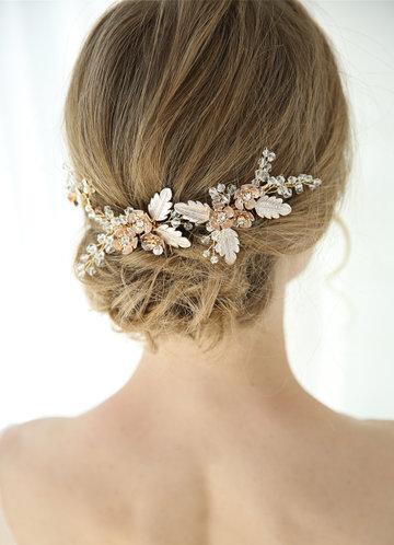 front_Floral Rhinestone Hairpin Set