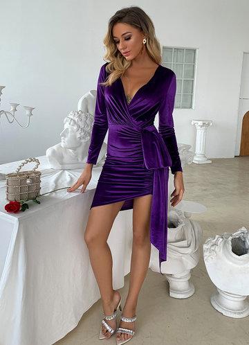 front_Joyfunear Plunge Neck Ruched Draped Velvet Dress
