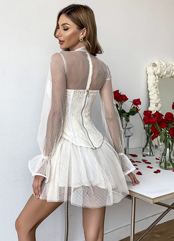 back_Missord Mock Neck Bell Sleeve Dobby Mesh Bustier Dress