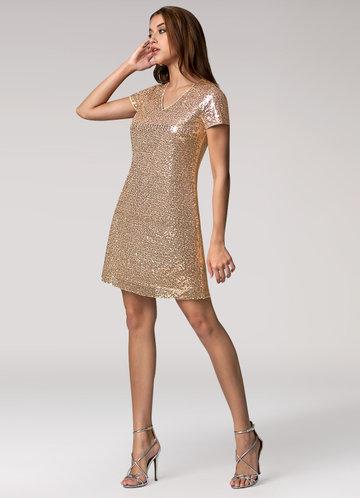Stay Shining Rose Gold Mini Dress