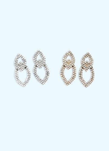 front_Double Teardrop Rhinstone Earrings