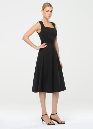front_EVER-PRETTY Square Neck Pleated Waist Dress