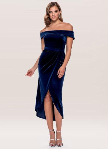 Sweet Desire Navy Blue Velvet Midi Dress