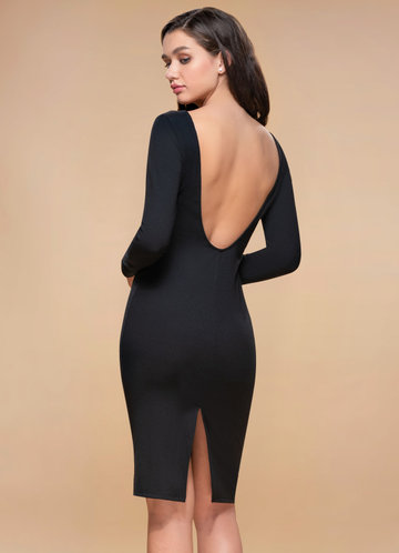 Magical Hour Black Backless Midi Dress