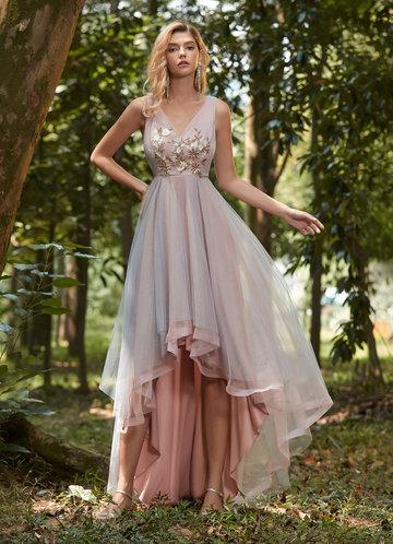 front_EVER-PRETTY Asymmetrical Hem Applique Prom Dress