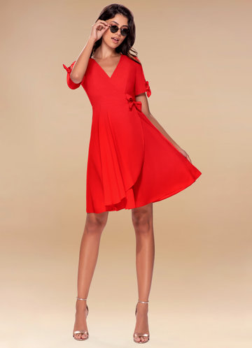 Coffee Break Red Wrap Dress