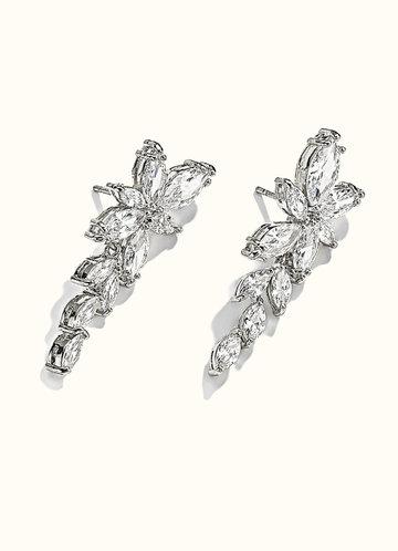 front_Floral Leaf Rhinestone Drop Earrings