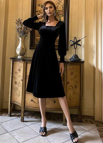 front_Missord Lantern Sleeve Frill Trim Velvet Dress
