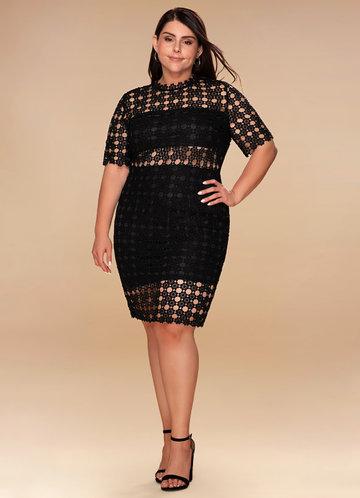 Puzzle Black Lace Bodycon Midi Dress