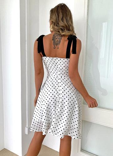 back_Joyfunear Knotted Shoulder Polka-dot Print Cami Dress