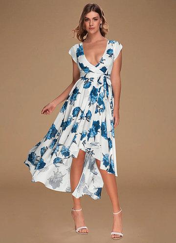 Swirl White Floral Print High Low Dress