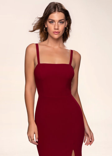 Luxury in Simplicity Burgundy Stretch Crepe Maxi Dress