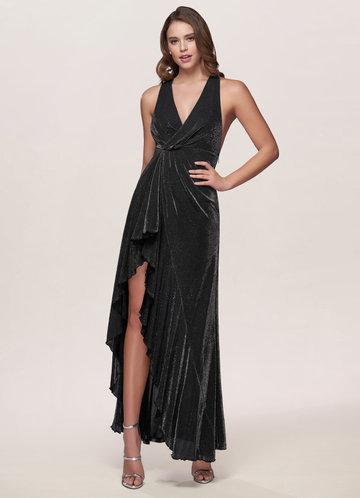 One Of A Kind Metallic Black Maxi Dress