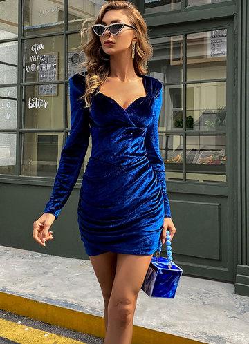 front_Missord Zip Back Ruched Velvet Dress