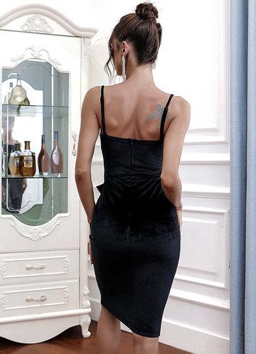 back_Missord Tie Waist Zip Back Velvet Cami Dress