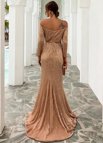 back_Missord Off Shoulder Sequined Mermaid Dress