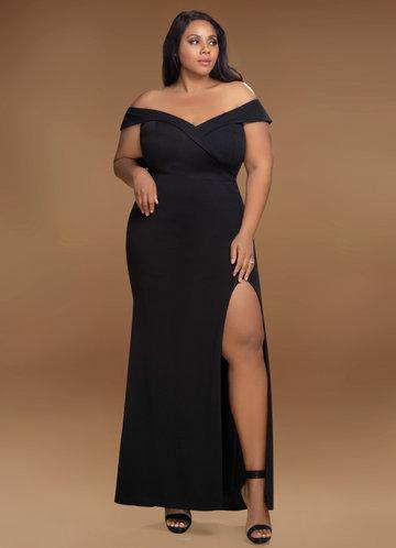 front_Blush Mark Plus Size My Valentine  Stretch Crepe Maxi Dress