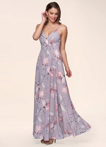 Daisy Vintage Mauve Floral Print Maxi Dress