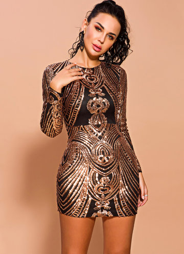 front_Missord Zip Detail Sequin Bodycon Dress