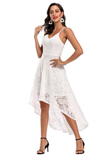 front_Caidienu High Low Hem Lace Midi Dress