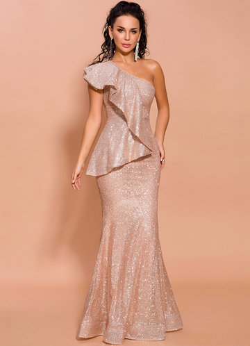front_Missord One Shoulder Exaggerated Ruffle Sequin Prom Dress