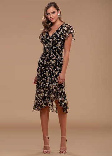Captivating Floral Metalic Midi Dress