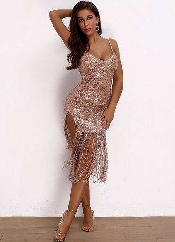 front_Joyfunear Split Thigh Fringe Hem Sequin Bodycon Dress