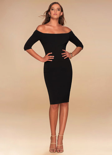 Timeless Black Off-The-Shoulder Midi Dress